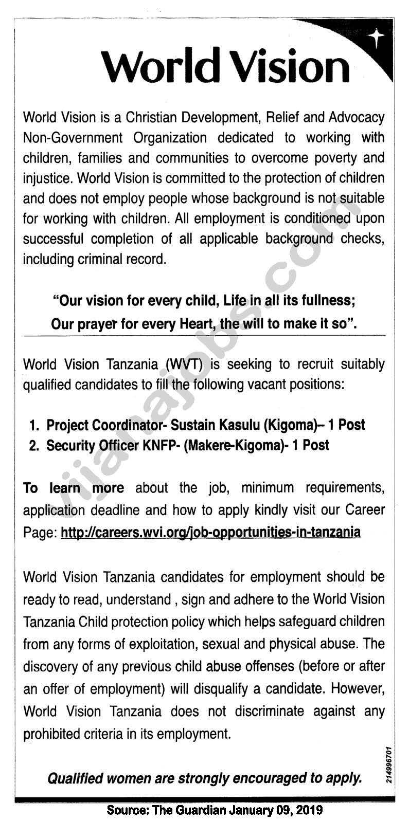 Project Coordinator, Security Officer   Job Offers in Tanzania